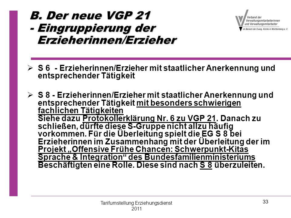 33 B. Der neue VGP 21 - Eingruppierung der Erzieherinnen/Erzieher   S 6 - Erzieherinnen/Erzieher mit staatlicher Anerkennung und entsprechender Täti