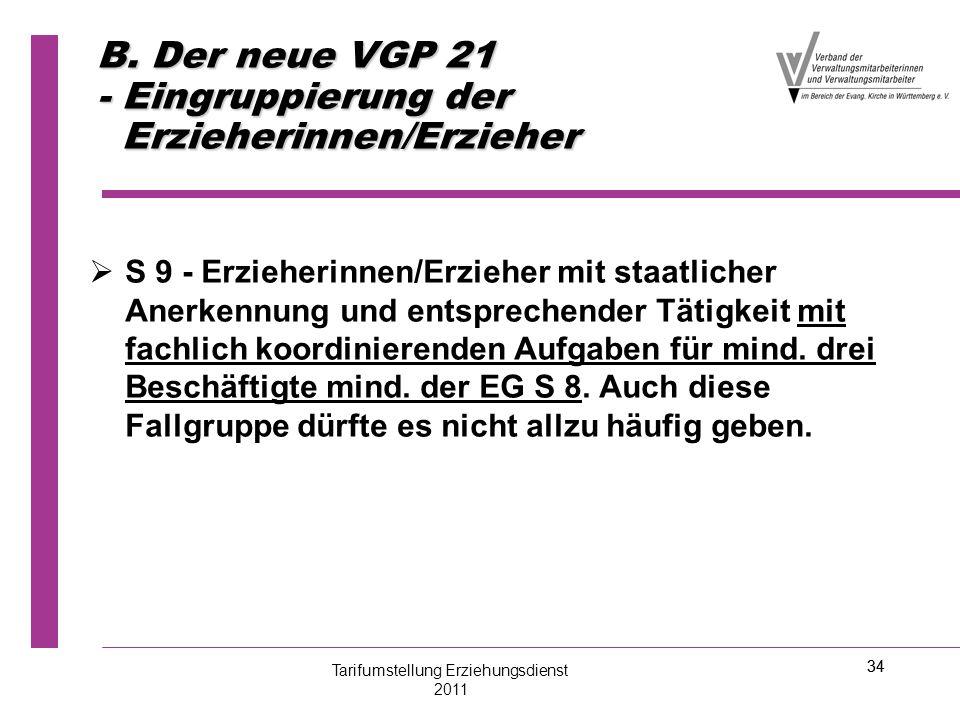 34 B. Der neue VGP 21 - Eingruppierung der Erzieherinnen/Erzieher   S 9 - Erzieherinnen/Erzieher mit staatlicher Anerkennung und entsprechender Täti