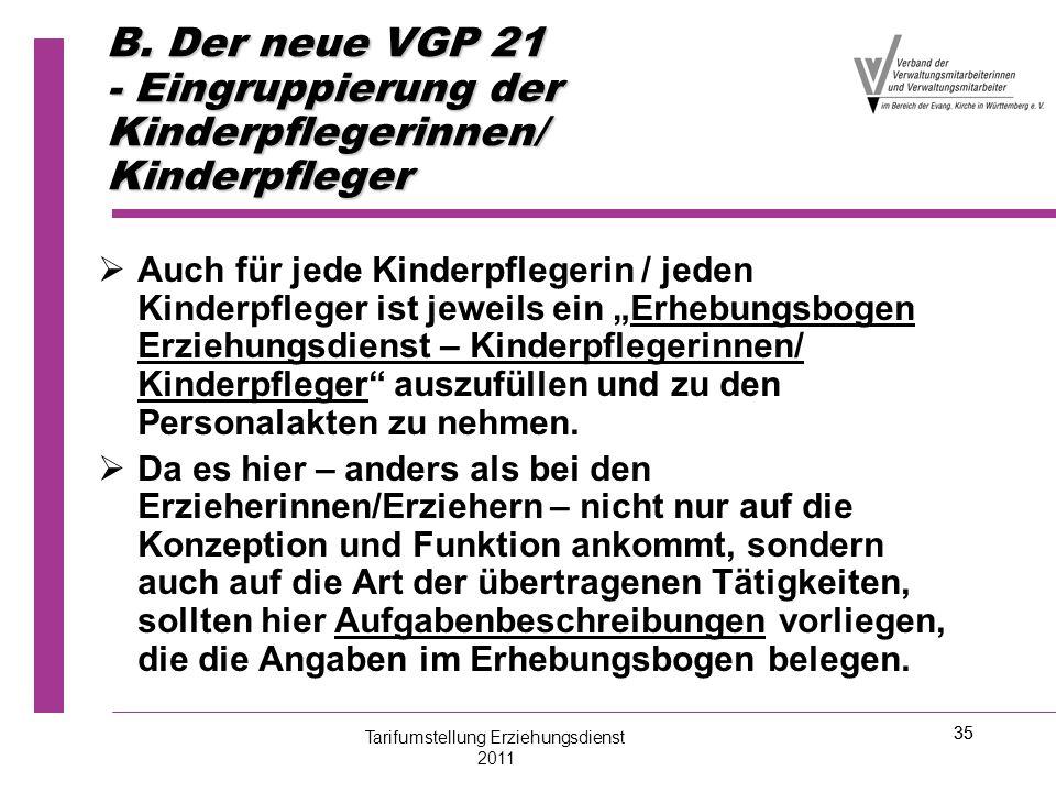 """35 B. Der neue VGP 21 - Eingruppierung der Kinderpflegerinnen/ Kinderpfleger   Auch für jede Kinderpflegerin / jeden Kinderpfleger ist jeweils ein """""""