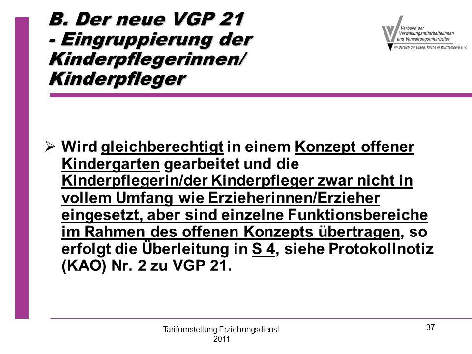 37 B. Der neue VGP 21 - Eingruppierung der Kinderpflegerinnen/ Kinderpfleger   Wird gleichberechtigt in einem Konzept offener Kindergarten gearbeite