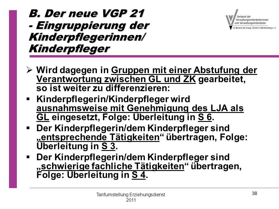 38 B. Der neue VGP 21 - Eingruppierung der Kinderpflegerinnen/ Kinderpfleger   Wird dagegen in Gruppen mit einer Abstufung der Verantwortung zwische