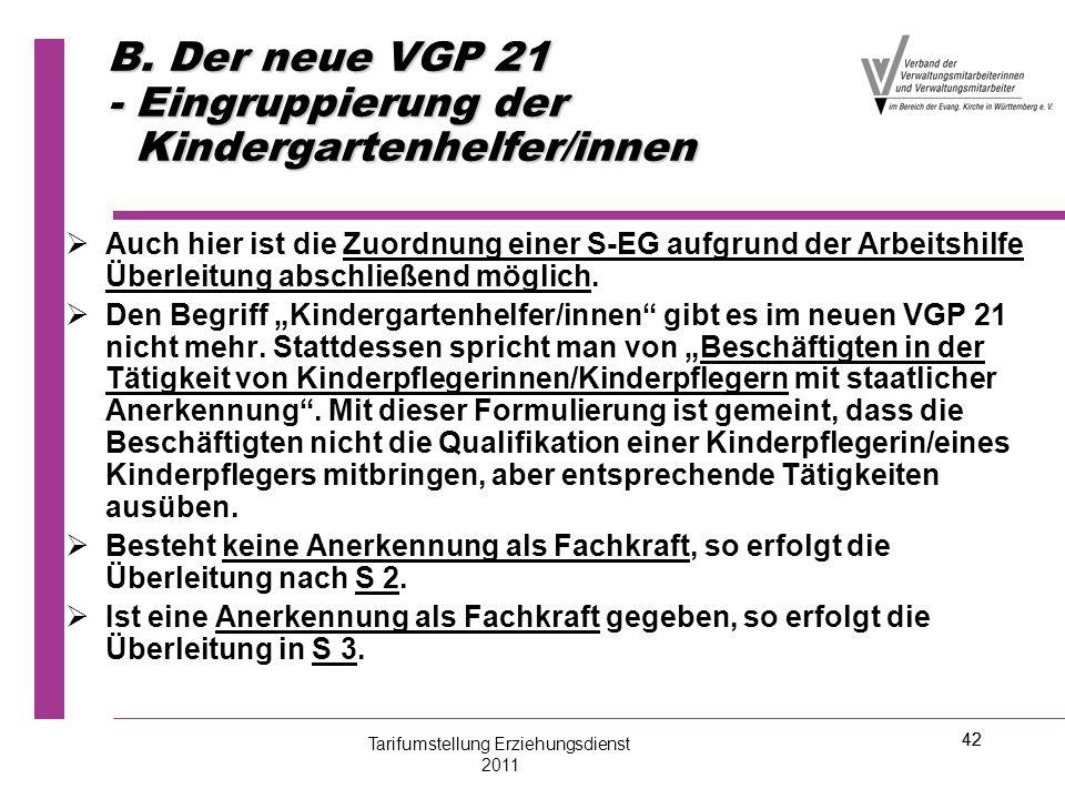 42 B. Der neue VGP 21 - Eingruppierung der Kindergartenhelfer/innen   Auch hier ist die Zuordnung einer S-EG aufgrund der Arbeitshilfe Überleitung a