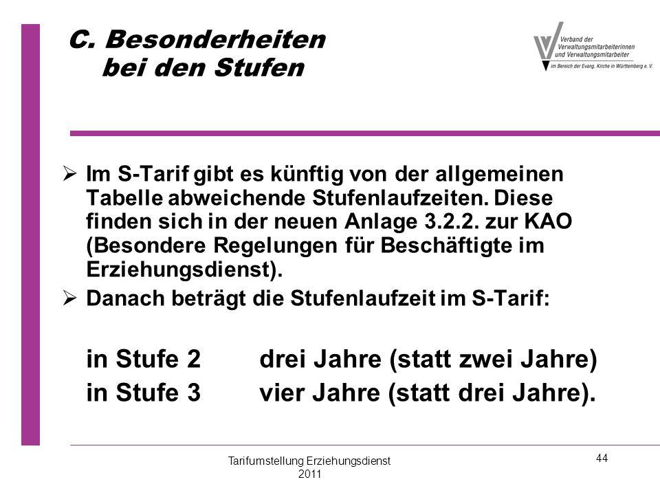 44 C. Besonderheiten bei den Stufen   Im S-Tarif gibt es künftig von der allgemeinen Tabelle abweichende Stufenlaufzeiten. Diese finden sich in der