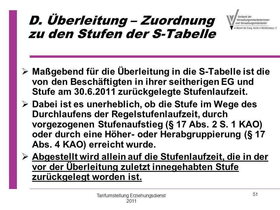 51 D. Überleitung – Zuordnung zu den Stufen der S-Tabelle   Maßgebend für die Überleitung in die S-Tabelle ist die von den Beschäftigten in ihrer se