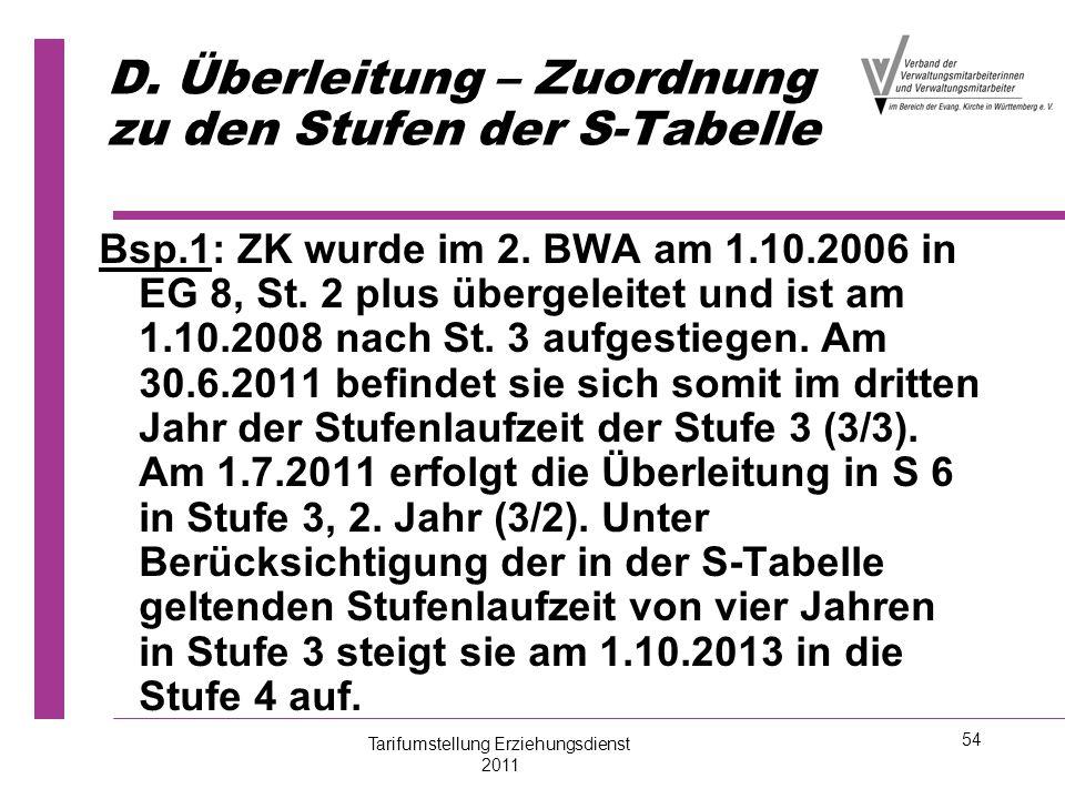 54 D. Überleitung – Zuordnung zu den Stufen der S-Tabelle Bsp.1: ZK wurde im 2. BWA am 1.10.2006 in EG 8, St. 2 plus übergeleitet und ist am 1.10.2008