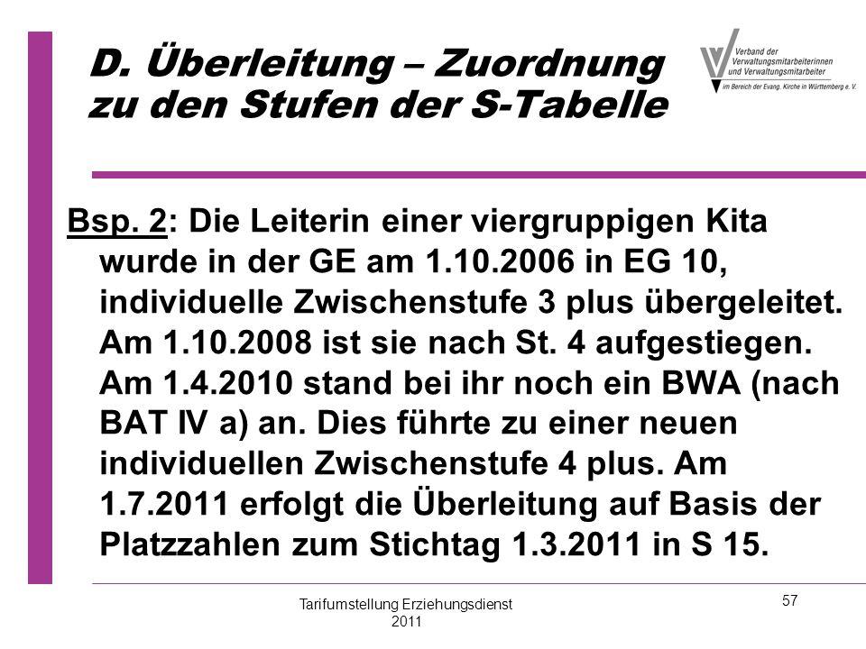 57 D. Überleitung – Zuordnung zu den Stufen der S-Tabelle Bsp. 2: Die Leiterin einer viergruppigen Kita wurde in der GE am 1.10.2006 in EG 10, individ