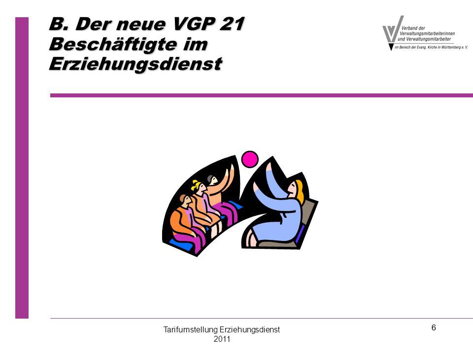 6 B. Der neue VGP 21 Beschäftigte im Erziehungsdienst Tarifumstellung Erziehungsdienst 2011 6