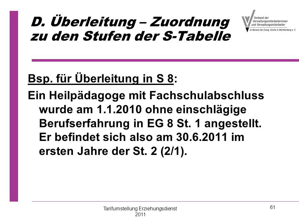 61 D. Überleitung – Zuordnung zu den Stufen der S-Tabelle Bsp. für Überleitung in S 8: Ein Heilpädagoge mit Fachschulabschluss wurde am 1.1.2010 ohne