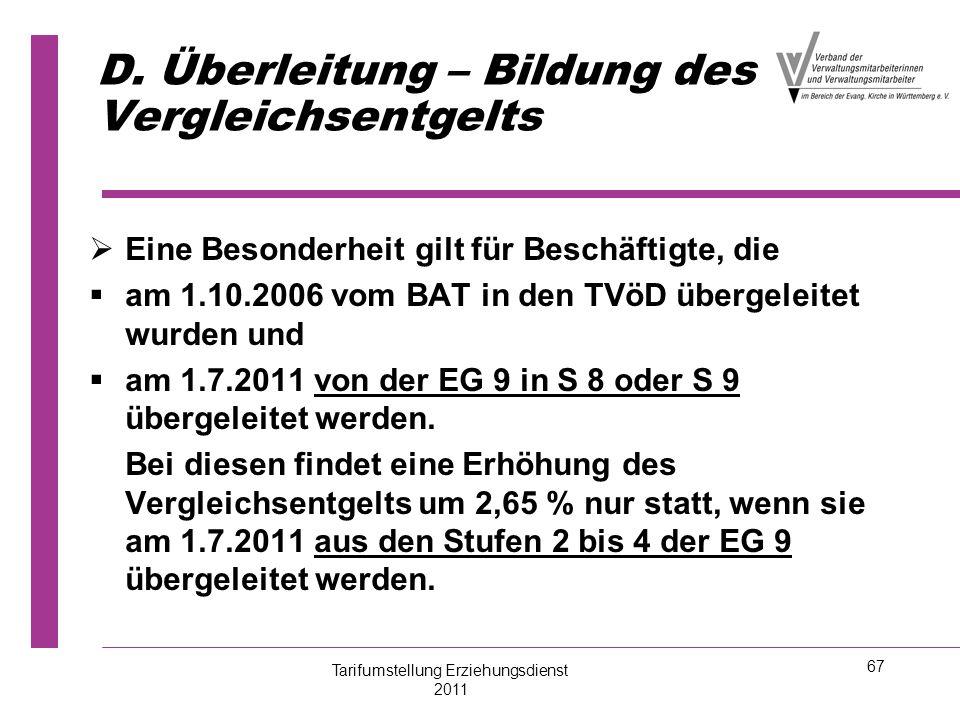 67 D. Überleitung – Bildung des Vergleichsentgelts   Eine Besonderheit gilt für Beschäftigte, die   am 1.10.2006 vom BAT in den TVöD übergeleitet