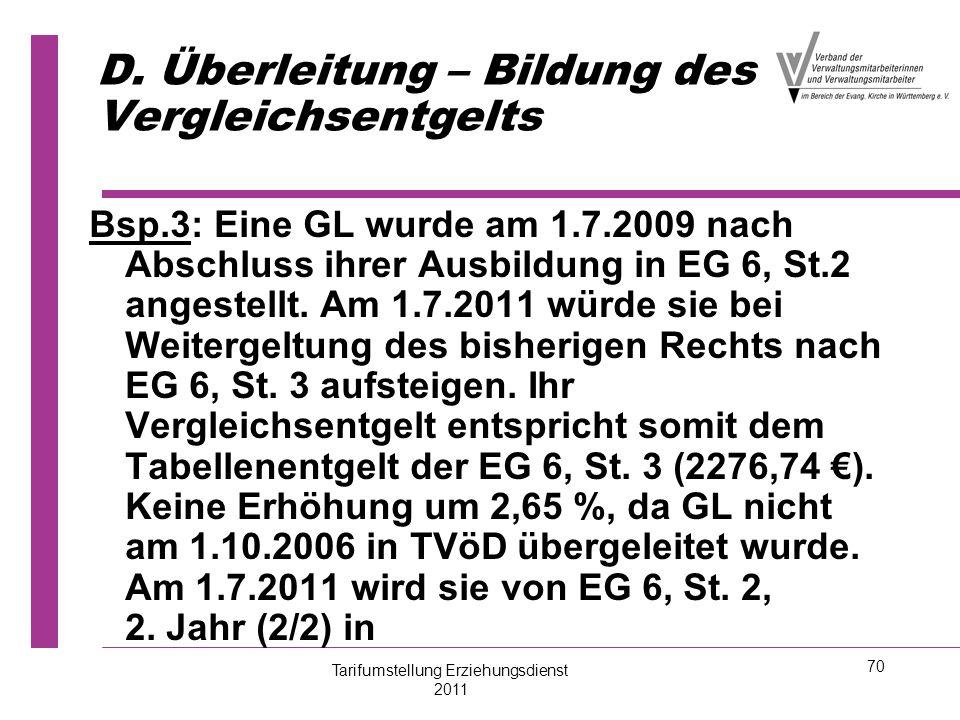 70 D. Überleitung – Bildung des Vergleichsentgelts Bsp.3: Eine GL wurde am 1.7.2009 nach Abschluss ihrer Ausbildung in EG 6, St.2 angestellt. Am 1.7.2