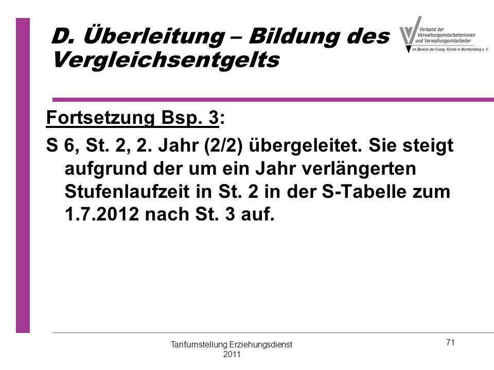 71 D. Überleitung – Bildung des Vergleichsentgelts Fortsetzung Bsp. 3: S 6, St. 2, 2. Jahr (2/2) übergeleitet. Sie steigt aufgrund der um ein Jahr ver
