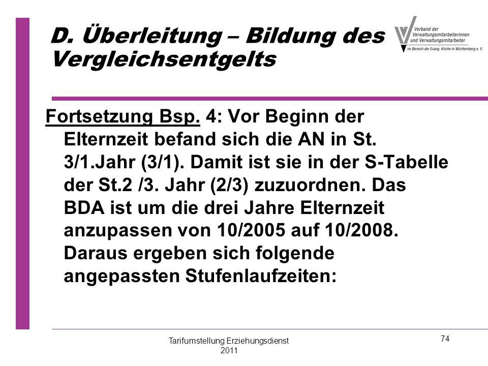 74 D. Überleitung – Bildung des Vergleichsentgelts Fortsetzung Bsp. 4: Vor Beginn der Elternzeit befand sich die AN in St. 3/1.Jahr (3/1). Damit ist s