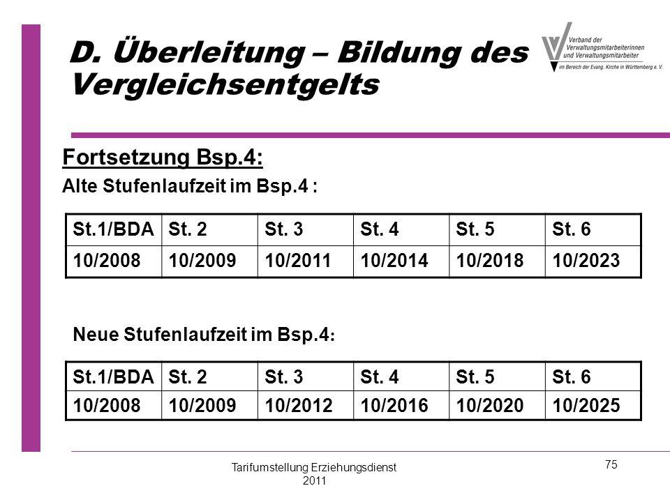 75 D. Überleitung – Bildung des Vergleichsentgelts Fortsetzung Bsp.4: Alte Stufenlaufzeit im Bsp.4 : St.1/BDASt. 2St. 3St. 4St. 5St. 6 10/200810/20091