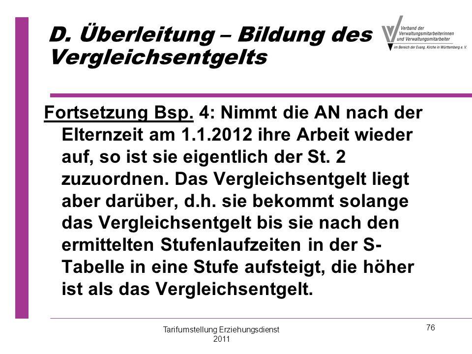 76 D. Überleitung – Bildung des Vergleichsentgelts Fortsetzung Bsp. 4: Nimmt die AN nach der Elternzeit am 1.1.2012 ihre Arbeit wieder auf, so ist sie