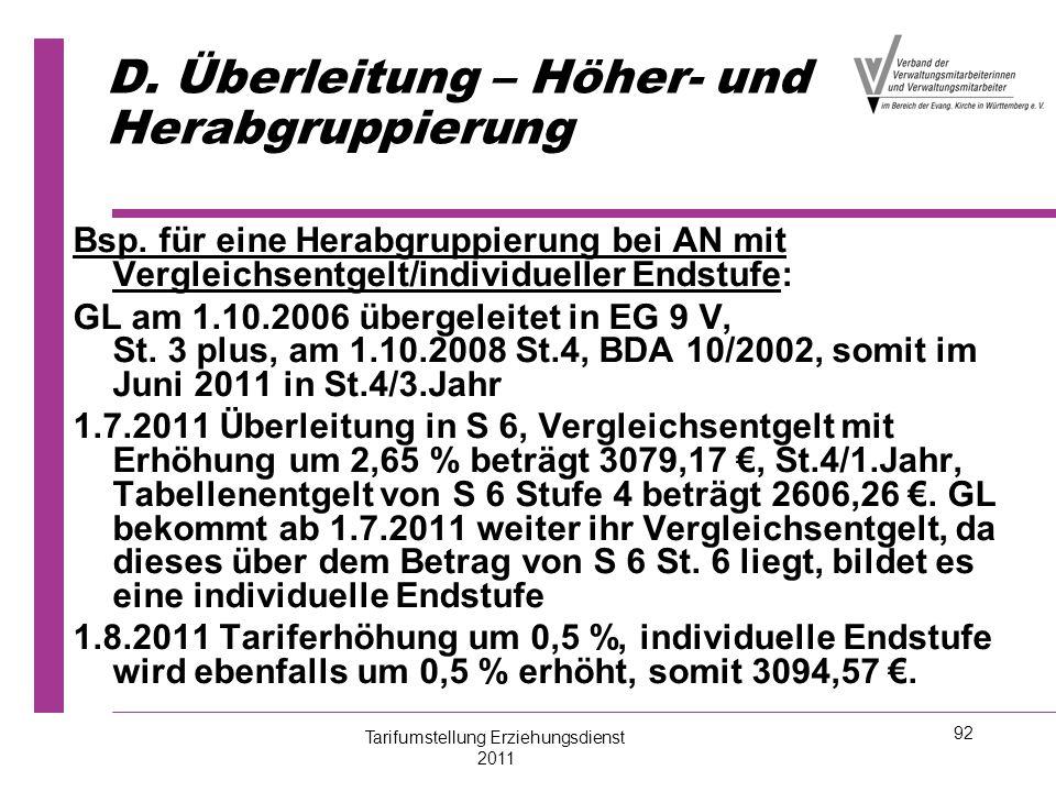 92 D. Überleitung – Höher- und Herabgruppierung Bsp. für eine Herabgruppierung bei AN mit Vergleichsentgelt/individueller Endstufe: GL am 1.10.2006 üb