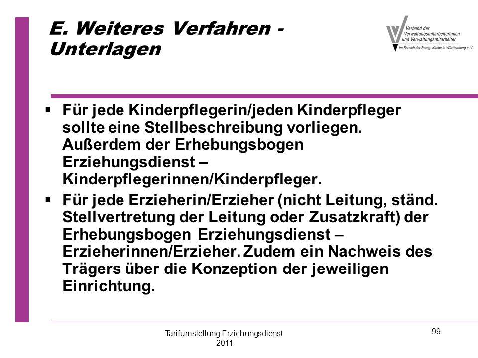 99 E. Weiteres Verfahren - Unterlagen   Für jede Kinderpflegerin/jeden Kinderpfleger sollte eine Stellbeschreibung vorliegen. Außerdem der Erhebungs