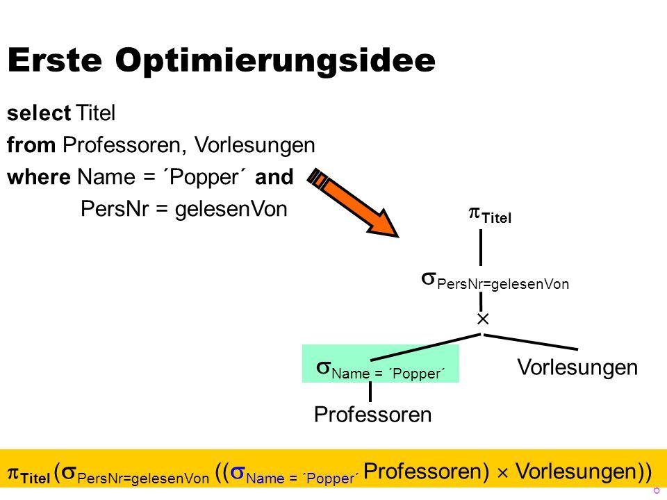 17 Zusammenfassung von Selektionen und Kreuzprodukten zu Joins sh v p     p.PersNr=v.gelesenVon  s.Semester  p.Name = ´Sokrates´  s.MatrNr=h.MatrNr  v.VorlNr=h.VorlNr sh v p A s.MatrNr=h.MatrNr A p.PersNr=v.gelesenVon  s.Semester  p.Name = ´Sokrates´ A v.VorlNr=h.VorlNr