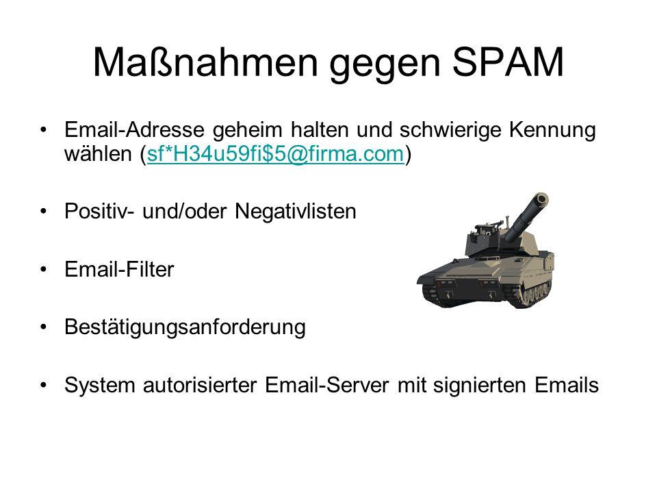 Maßnahmen gegen SPAM Email-Adresse geheim halten und schwierige Kennung wählen (sf*H34u59fi$5@firma.com)sf*H34u59fi$5@firma.com Positiv- und/oder Negativlisten Email-Filter Bestätigungsanforderung System autorisierter Email-Server mit signierten Emails