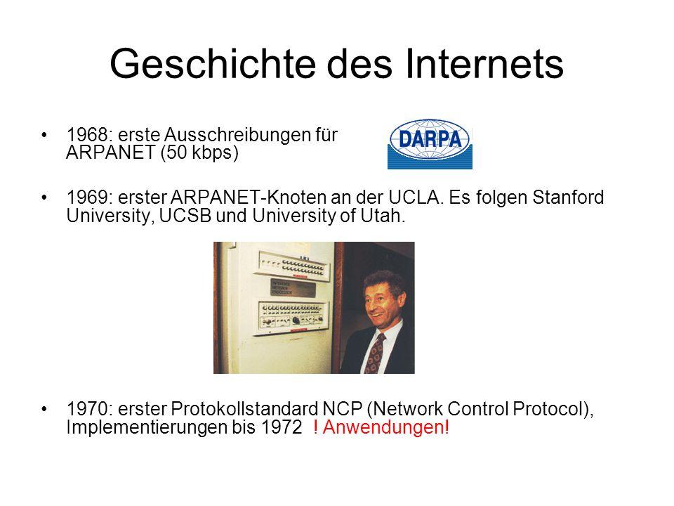 Geschichte des Internets 1968: erste Ausschreibungen für ARPANET (50 kbps) 1969: erster ARPANET-Knoten an der UCLA.