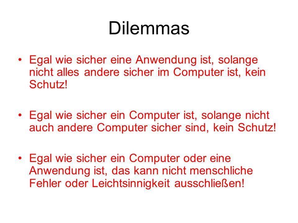 Dilemmas Egal wie sicher eine Anwendung ist, solange nicht alles andere sicher im Computer ist, kein Schutz.