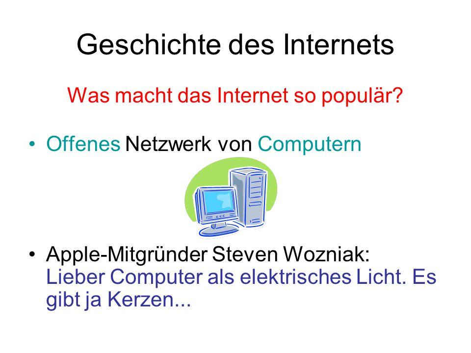 Geschichte des Internets Was macht das Internet so populär.