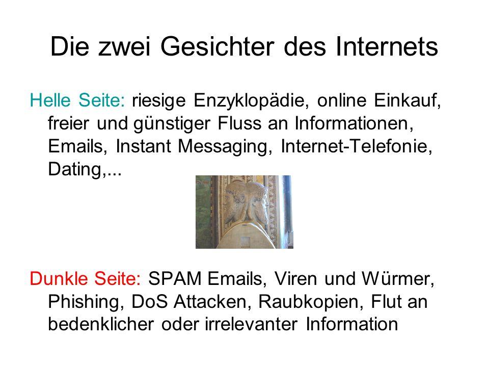 Die zwei Gesichter des Internets Helle Seite: riesige Enzyklopädie, online Einkauf, freier und günstiger Fluss an Informationen, Emails, Instant Messaging, Internet-Telefonie, Dating,...