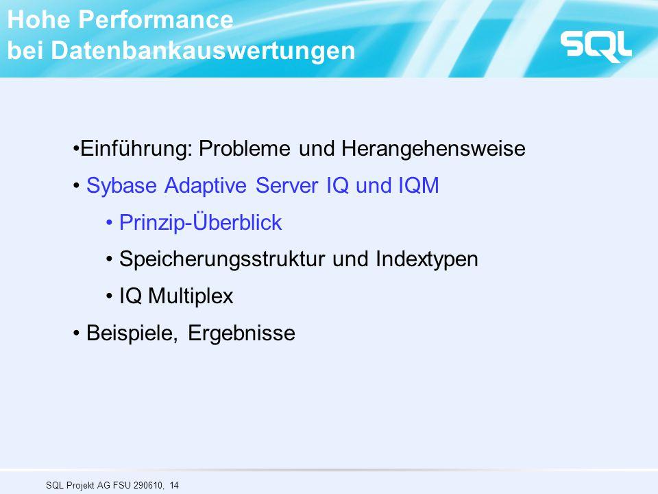 SQL Projekt AG FSU 290610, 14 Hohe Performance bei Datenbankauswertungen Einführung: Probleme und Herangehensweise Sybase Adaptive Server IQ und IQM Prinzip-Überblick Speicherungsstruktur und Indextypen IQ Multiplex Beispiele, Ergebnisse