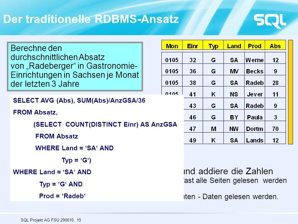 """SQL Projekt AG FSU 290610, 15 Der traditionelle RDBMS-Ansatz Berechne den durchschnittlichen Absatz von """"Radeberger"""" in Gastronomie- Einrichtungen in"""