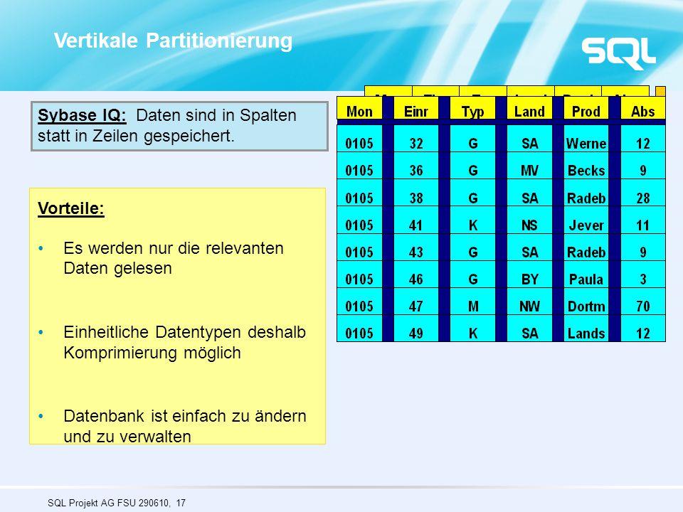 SQL Projekt AG FSU 290610, 17 Vorteile: Es werden nur die relevanten Daten gelesen Einheitliche Datentypen deshalb Komprimierung möglich Datenbank ist