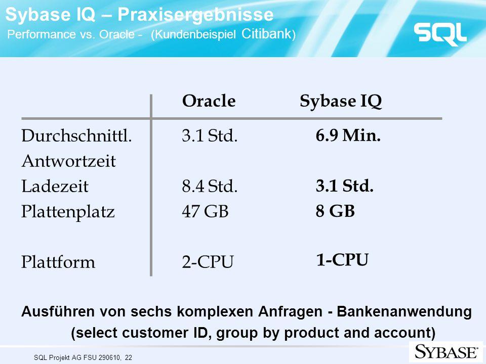 SQL Projekt AG FSU 290610, 22 Oracle Sybase IQ Durchschnittl. 3.1 Std. Antwortzeit Ladezeit 8.4 Std. Plattenplatz 47 GB Plattform 2-CPU Ausführen von