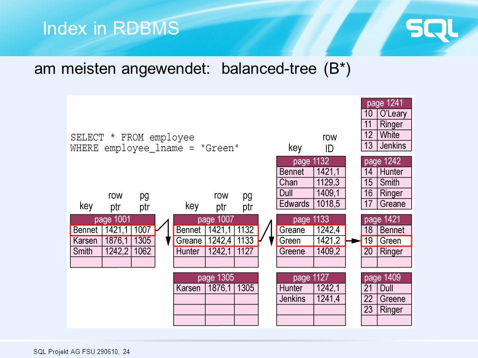 SQL Projekt AG FSU 290610, 24 Index in RDBMS am meisten angewendet: balanced-tree (B*)
