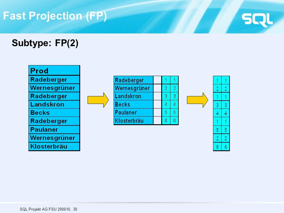 SQL Projekt AG FSU 290610, 30 Fast Projection (FP) Subtype: FP(2)