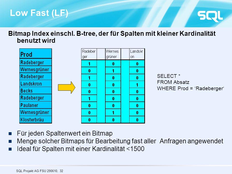 SQL Projekt AG FSU 290610, 32 Low Fast (LF) Bitmap Index einschl. B-tree, der für Spalten mit kleiner Kardinalität benutzt wird Für jeden Spaltenwert