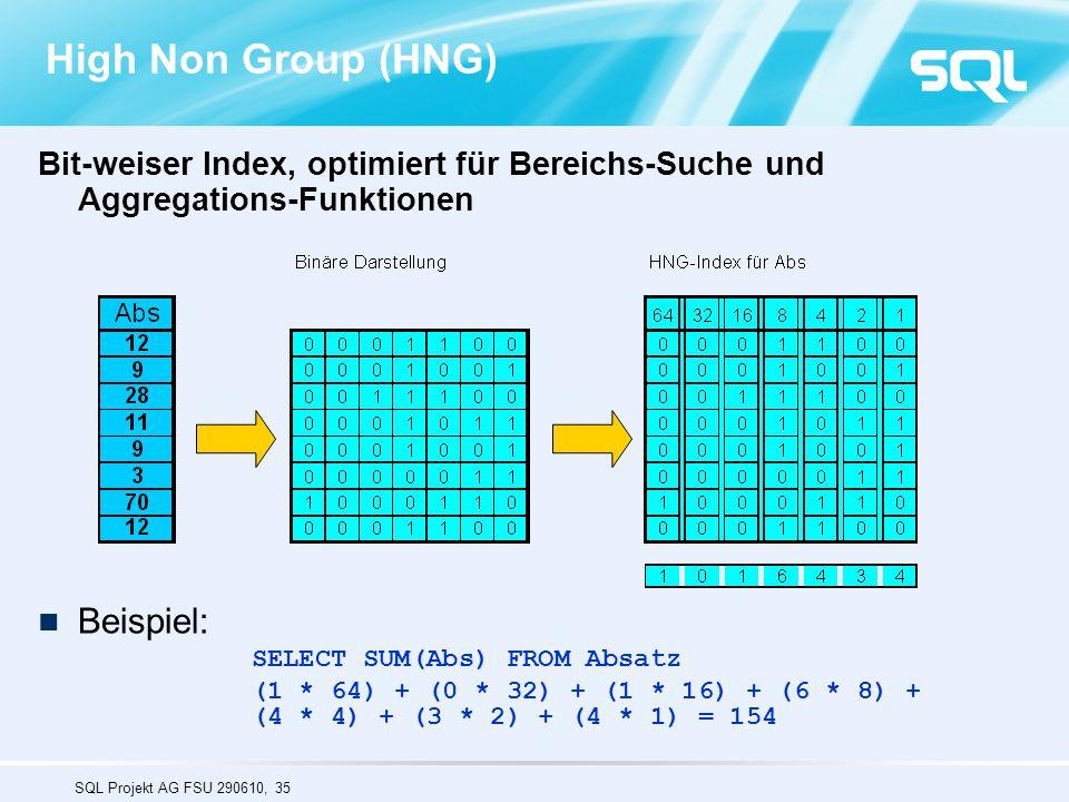 SQL Projekt AG FSU 290610, 35 High Non Group (HNG) Bit-weiser Index, optimiert für Bereichs-Suche und Aggregations-Funktionen Beispiel: SELECT SUM(Abs