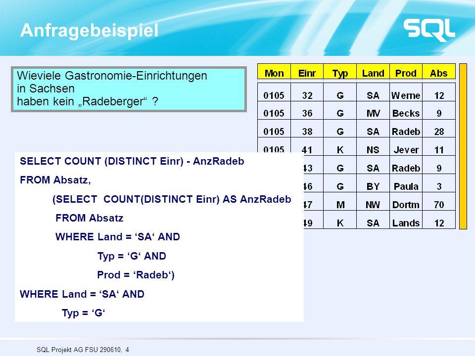 """SQL Projekt AG FSU 290610, 4 Anfragebeispiel Wieviele Gastronomie-Einrichtungen in Sachsen haben kein """"Radeberger"""" ? SELECT COUNT (DISTINCT Einr) FROM"""