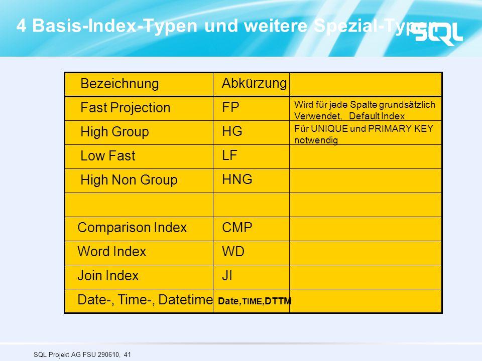 SQL Projekt AG FSU 290610, 41 4 Basis-Index-Typen und weitere Spezial-Typen Bezeichnung Abkürzung Fast Projection High Group Low Fast High Non Group F