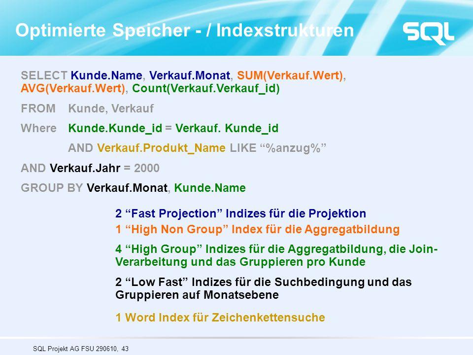 SQL Projekt AG FSU 290610, 43 SELECT Kunde.Name, Verkauf.Monat, SUM(Verkauf.Wert), AVG(Verkauf.Wert), Count(Verkauf.Verkauf_id) FROM Kunde, Verkauf Wh