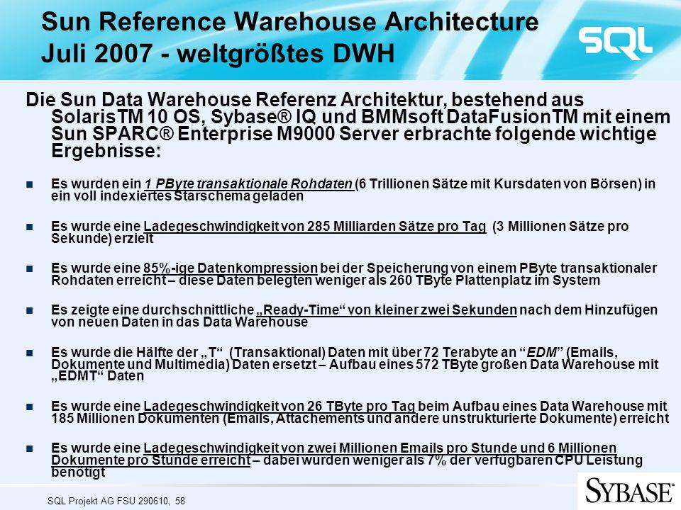"""SQL Projekt AG FSU 290610, 58 Sun Reference Warehouse Architecture Juli 2007 - weltgrößtes DWH Die Sun Data Warehouse Referenz Architektur, bestehend aus SolarisTM 10 OS, Sybase® IQ und BMMsoft DataFusionTM mit einem Sun SPARC® Enterprise M9000 Server erbrachte folgende wichtige Ergebnisse: Es wurden ein 1 PByte transaktionale Rohdaten (6 Trillionen Sätze mit Kursdaten von Börsen) in ein voll indexiertes Starschema geladen Es wurde eine Ladegeschwindigkeit von 285 Milliarden Sätze pro Tag (3 Millionen Sätze pro Sekunde) erzielt Es wurde eine 85%-ige Datenkompression bei der Speicherung von einem PByte transaktionaler Rohdaten erreicht – diese Daten belegten weniger als 260 TByte Plattenplatz im System Es zeigte eine durchschnittliche """"Ready-Time von kleiner zwei Sekunden nach dem Hinzufügen von neuen Daten in das Data Warehouse Es wurde die Hälfte der """"T (Transaktional) Daten mit über 72 Terabyte an EDM (Emails, Dokumente und Multimedia) Daten ersetzt – Aufbau eines 572 TByte großen Data Warehouse mit """"EDMT Daten Es wurde eine Ladegeschwindigkeit von 26 TByte pro Tag beim Aufbau eines Data Warehouse mit 185 Millionen Dokumenten (Emails, Attachements und andere unstrukturierte Dokumente) erreicht Es wurde eine Ladegeschwindigkeit von zwei Millionen Emails pro Stunde und 6 Millionen Dokumente pro Stunde erreicht – dabei wurden weniger als 7% der verfügbaren CPU Leistung benötigt Audit showshow show"""
