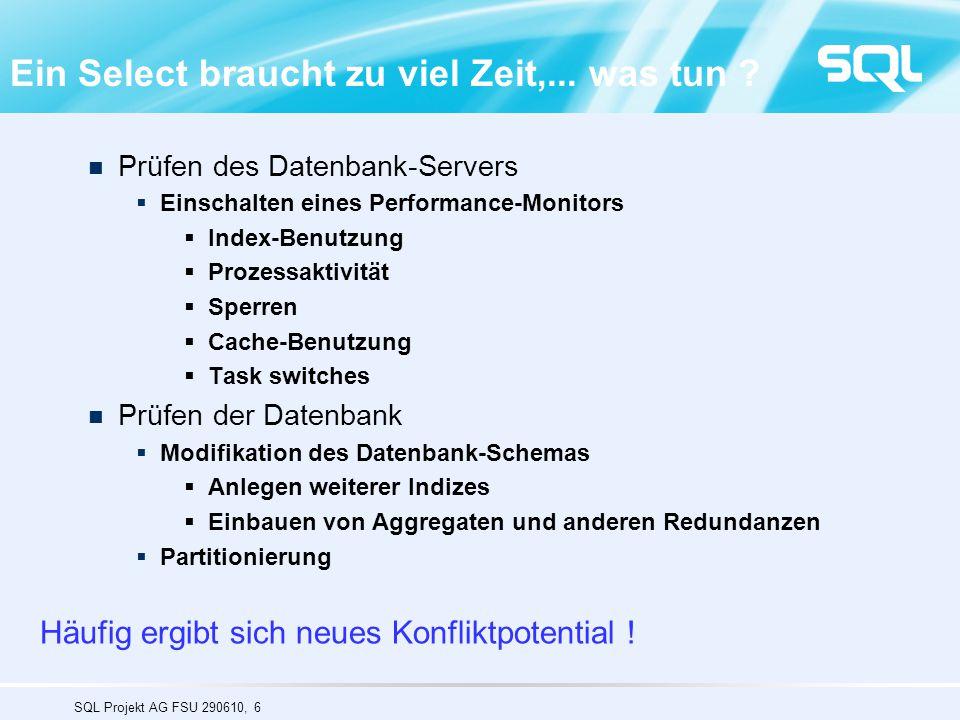 SQL Projekt AG FSU 290610, 47 Eurostat : wide table – 10 Mio rows