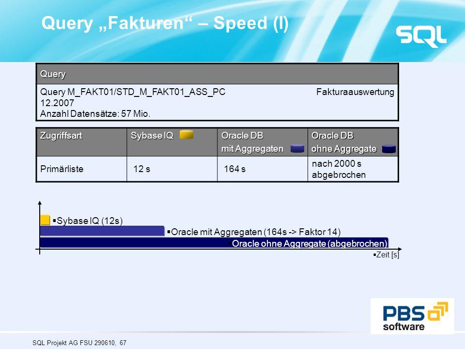 """SQL Projekt AG FSU 290610, 67 Query """"Fakturen"""" – Speed (I)Query Query M_FAKT01/STD_M_FAKT01_ASS_PC Fakturaauswertung 12.2007 Anzahl Datensätze: 57 Mio"""