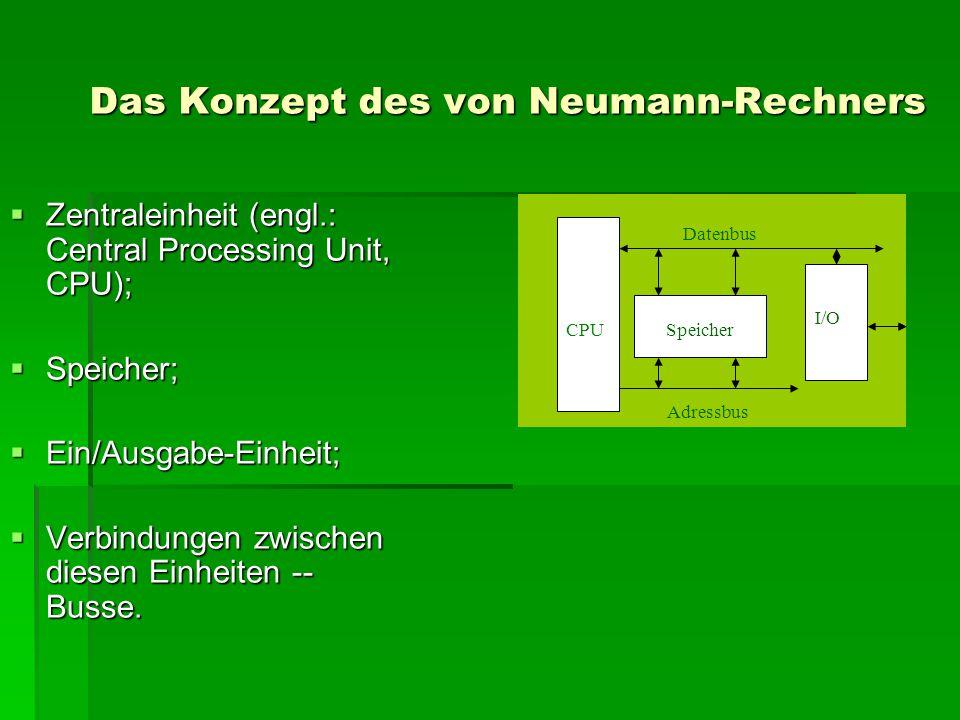 Das Konzept des von Neumann-Rechners  Zentraleinheit (engl.: Central Processing Unit, CPU);  Speicher;  Ein/Ausgabe-Einheit;  Verbindungen zwische