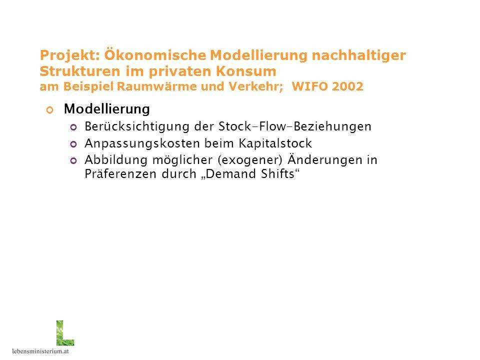 """Projekt: Ökonomische Modellierung nachhaltiger Strukturen im privaten Konsum am Beispiel Raumwärme und Verkehr; WIFO 2002 Modellierung Berücksichtigung der Stock-Flow-Beziehungen Anpassungskosten beim Kapitalstock Abbildung möglicher (exogener) Änderungen in Präferenzen durch """"Demand Shifts"""