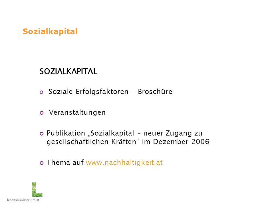 """Sozialkapital SOZIALKAPITAL Soziale Erfolgsfaktoren - Broschüre Veranstaltungen Publikation """"Sozialkapital – neuer Zugang zu gesellschaftlichen Kräften im Dezember 2006 Thema auf www.nachhaltigkeit.atwww.nachhaltigkeit.at"""