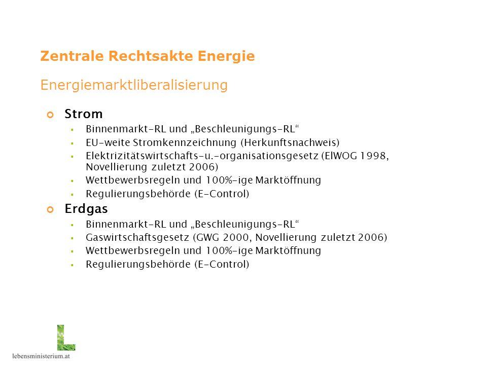 """Zentrale Rechtsakte Energie Strom  Binnenmarkt-RL und """"Beschleunigungs-RL  EU-weite Stromkennzeichnung (Herkunftsnachweis)  Elektrizitätswirtschafts-u.-organisationsgesetz (ElWOG 1998, Novellierung zuletzt 2006)  Wettbewerbsregeln und 100%-ige Marktöffnung  Regulierungsbehörde (E-Control) Erdgas  Binnenmarkt-RL und """"Beschleunigungs-RL  Gaswirtschaftsgesetz (GWG 2000, Novellierung zuletzt 2006)  Wettbewerbsregeln und 100%-ige Marktöffnung  Regulierungsbehörde (E-Control) Energiemarktliberalisierung"""