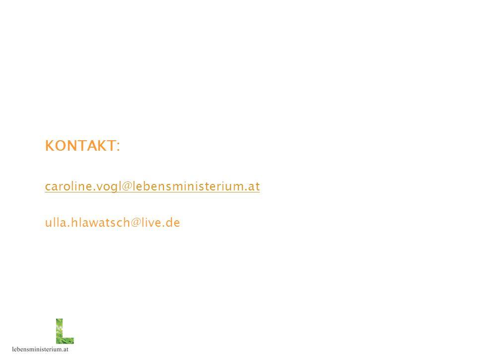 KONTAKT: caroline.vogl@lebensministerium.at ulla.hlawatsch@live.de