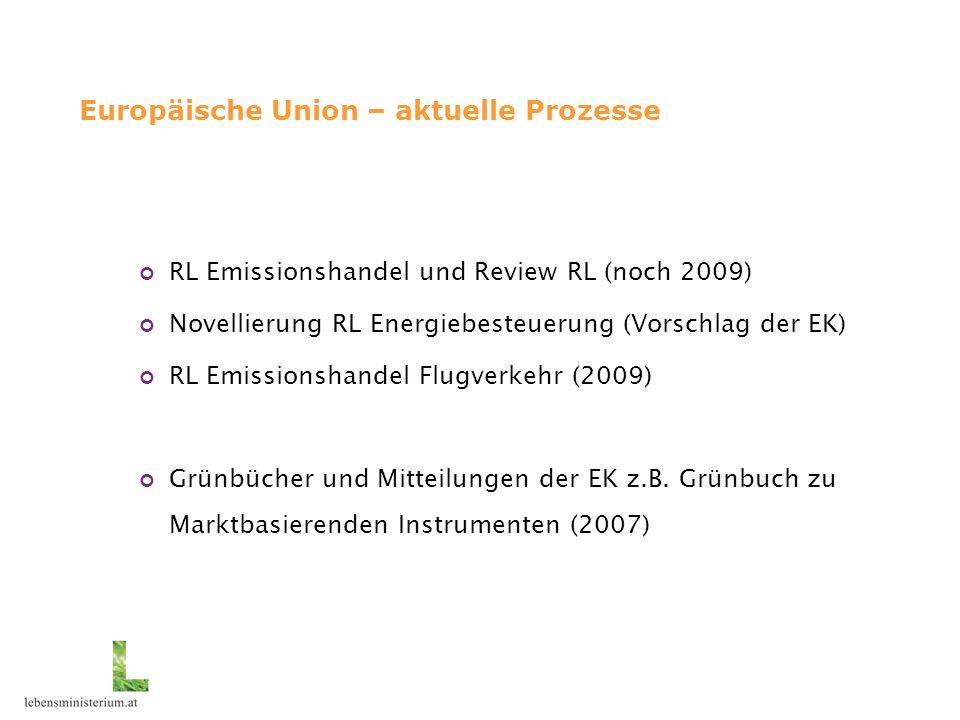 Europäische Union – aktuelle Prozesse RL Emissionshandel und Review RL (noch 2009) Novellierung RL Energiebesteuerung (Vorschlag der EK) RL Emissionshandel Flugverkehr (2009) Grünbücher und Mitteilungen der EK z.B.