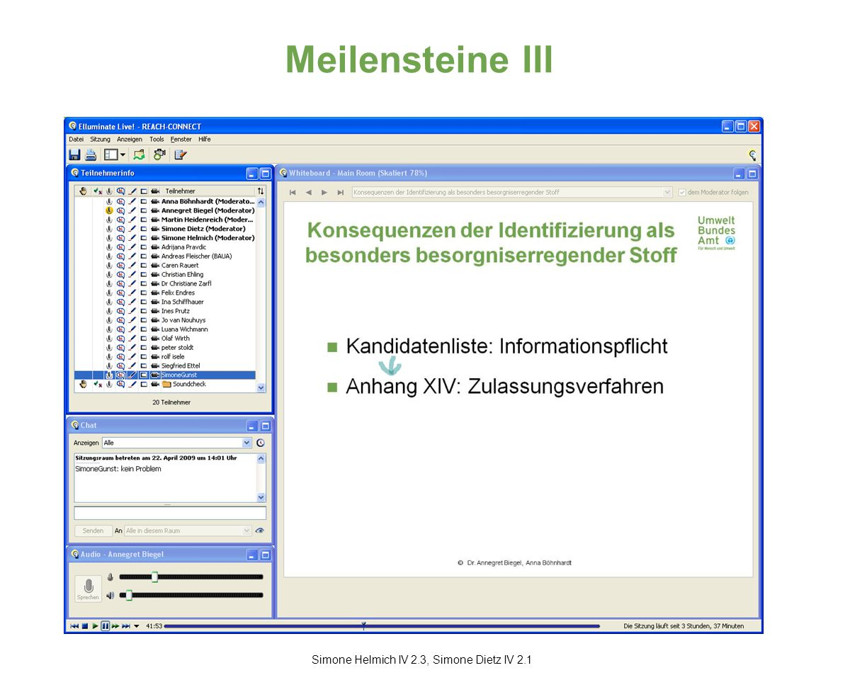 Meilensteine III Simone Helmich IV 2.3, Simone Dietz IV 2.1