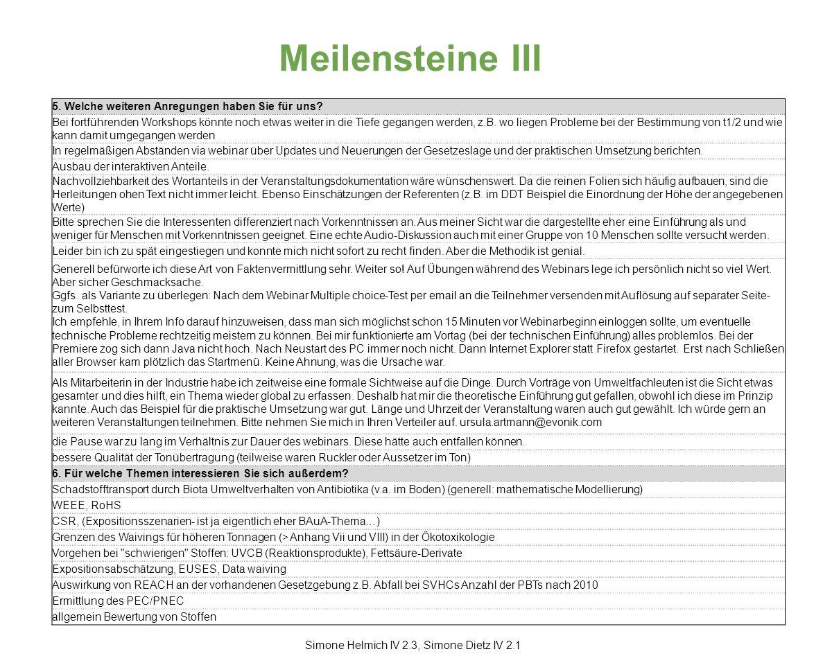 Meilensteine III Simone Helmich IV 2.3, Simone Dietz IV 2.1 5.