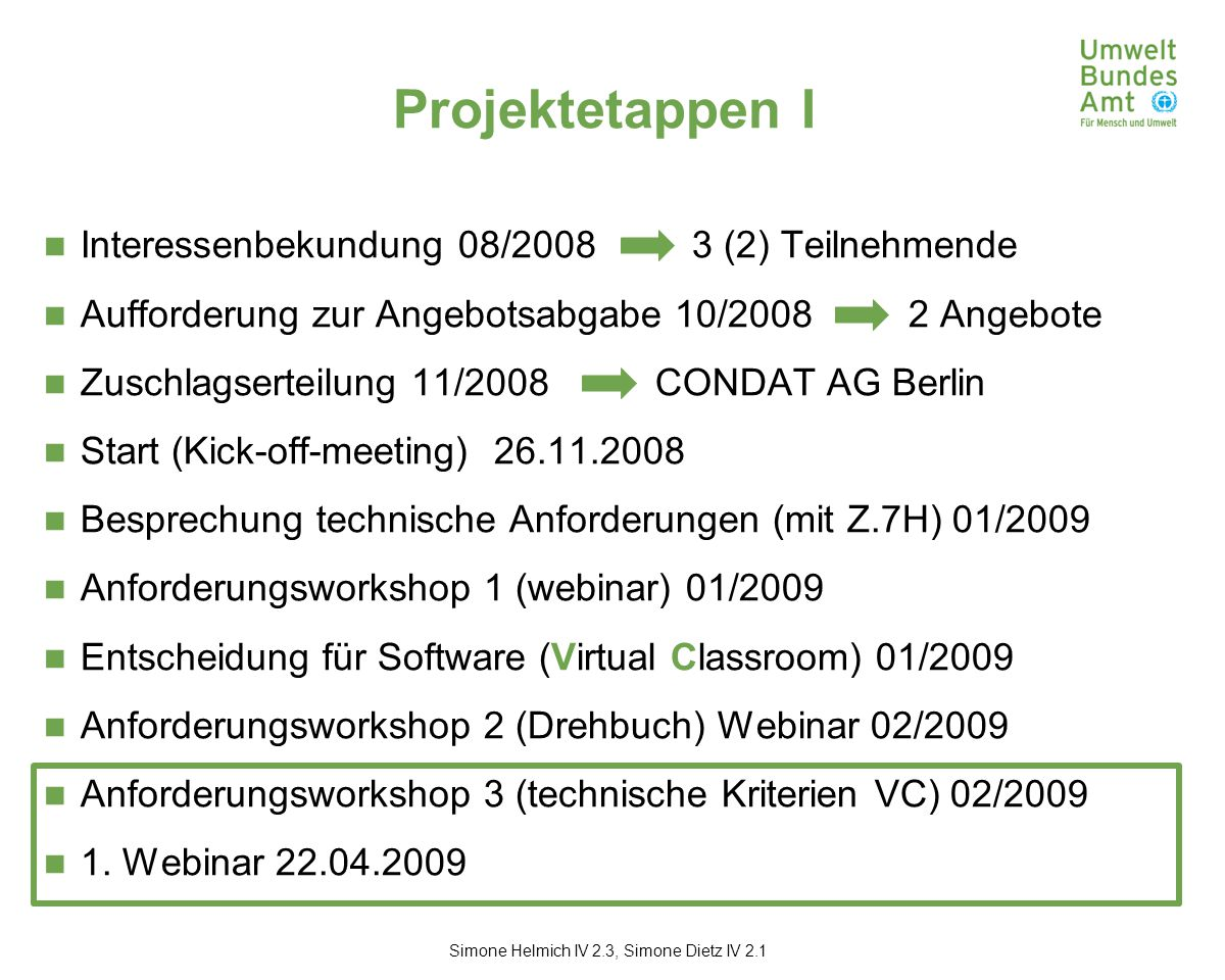 Projektetappen I Interessenbekundung 08/2008 3 (2) Teilnehmende Aufforderung zur Angebotsabgabe 10/2008 2 Angebote Zuschlagserteilung 11/2008 CONDAT AG Berlin Start (Kick-off-meeting) 26.11.2008 Besprechung technische Anforderungen (mit Z.7H) 01/2009 Anforderungsworkshop 1 (webinar) 01/2009 Entscheidung für Software (Virtual Classroom) 01/2009 Anforderungsworkshop 2 (Drehbuch) Webinar 02/2009 Anforderungsworkshop 3 (technische Kriterien VC) 02/2009 1.