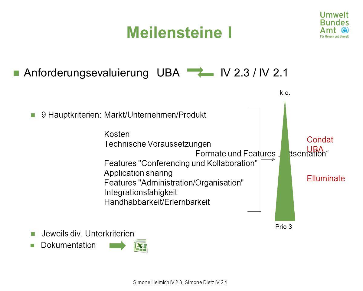 """Meilensteine I Anforderungsevaluierung UBA IV 2.3 / IV 2.1 9 Hauptkriterien: Markt/Unternehmen/Produkt Kosten Technische Voraussetzungen Formate und Features """"Präsentation Features Conferencing und Kollaboration Application sharing Features Administration/Organisation Integrationsfähigkeit Handhabbarkeit/Erlernbarkeit Jeweils div."""